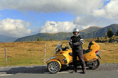 Spyder. With the can am spyder in the mountains Stock Photos