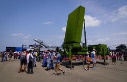 SPYDER Surface-to-Air Missile System. Singapore  - Feb 10, 2018. Visitors looking at SPYDER Surface-to-Air Missile System belong to the Singapore Air Force on Stock Photos