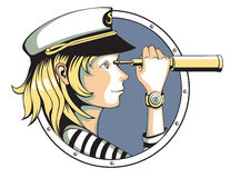 Spyglass. Pretty sailor girl with spyglass Stock Photography