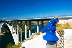 Spyglass. The blue spyglass for sightseeing Royalty Free Stock Photo
