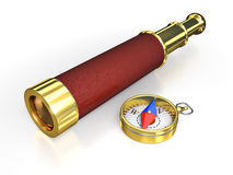 Spyglass and compass Stock Images