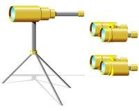 Spyglass e binóculos ilustração do vetor
