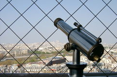 Spyglass in Eiffel tower. In Paris Royalty Free Stock Photography
