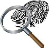 Spyglass and fingerprint. An illustration of a spyglass magnifying a fingerprint Royalty Free Stock Photos