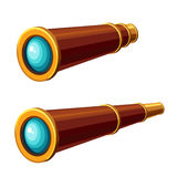 Spyglass icon. Cartoon addition and expansion spyglass for sailors Stock Image