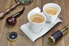 Spyglass, Magnifying Glass,  Compass, Smoking Pipe and Two Coffee Stock Image