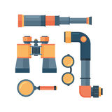 Spyglass telescope lens vector illustration. Stock Photography