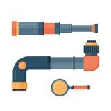 Spyglass telescope lens vector illustration. Royalty Free Stock Images