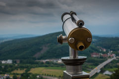 Spyglass on the viewing platform against sky Royalty Free Stock Photography