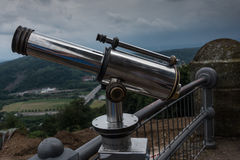 Spyglass on the viewing platform against sky Royalty Free Stock Photo