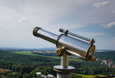 Spyglass on the viewing platform against sky Stock Photo