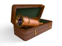 Spyglass w drewnianym pudełku Zdjęcia Royalty Free