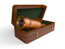 Spyglass in wooden box Royalty Free Stock Photos
