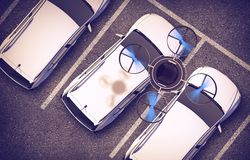 Spying Drone Over Cars Royalty Free Stock Photo