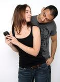 Spying Husband Stock Image