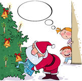 Spying on Santa. Christmas illustration with Santa and kids Royalty Free Stock Image
