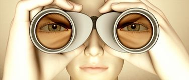 Spying With Binoculars Royalty Free Stock Images