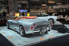 Spyker C8 Aileron Spyder. The Spyker C8 Aileron Spyder is another super car that is celebrating its European Premiere in Geneva Motorshow 2010 royalty free stock image
