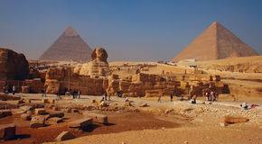 Spynx face on the Giza pyramid background, Cairo Royalty Free Stock Photography