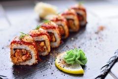 Spysi rolls with lemon and wasabi, Japanese cuisine. Royalty Free Stock Photo