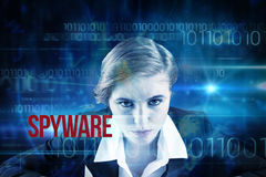 Spyware against blue technology design with binary code Royalty Free Stock Photos