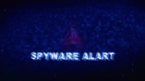 Spyware alart text digital noise twitch glitch distortion effect error animation. royalty free illustration