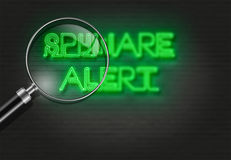 SPYWARE ALERT. Writing   words ' SPYWARE ALERT '  on bricks  background made in 2d software Stock Photo