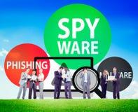 Spyware die het Virusconcept binnendringen in een beveiligd computersysteem van Phishing Malware Royalty-vrije Stock Foto's