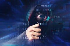 Spyware e conceito do ransomware com efeito digital do pulso aleatório fotografia de stock