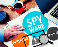 Spyware entaillant le concept de virus de Phishing Malware Photos libres de droits