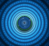Spyware eyeball on blue background Stock Photos