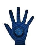 Spyware eyeball on ripple blue background in hand. Royalty Free Stock Image
