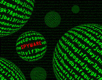 Spyware parmi des sphères de code machine Image stock