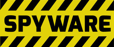 Spyware sign yellow warning Royalty Free Stock Photography