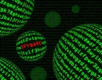 Spyware unter Kugeln des Maschinencodes Stockbild