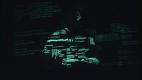 Spyware voor het binnendringen in een beveiligd computersysteem van plaatsen Zwarte achtergrond Silhouet stock video