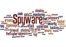 Spyware, word cloud concept Stock Images