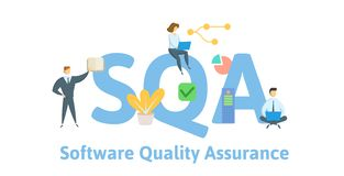SQA, Software Quality Assurance. Concept with keywords, people and icons. Flat vector illustration. Isolated on white. SQA, Software Quality Assurance. Concept vector illustration