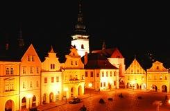 Sqare da cidade pequena Pelhrimov foto de stock
