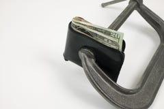 Sqeeze del dinero. Fotografía de archivo