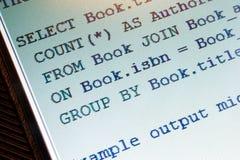 SQL code Royalty Free Stock Photos