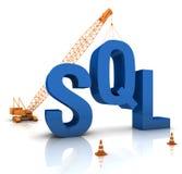 SQL Coding. Construction site crane building a blue SQL 3D text. Part of a series