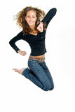 Squabbler girl. Jumping pretty funny girl on white Royalty Free Stock Photos