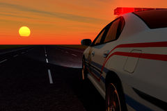 Squad car. Police car on background of the sundown Royalty Free Stock Image