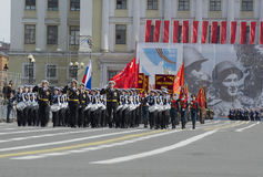 Squad drummers Nakhimov naval College opens with the rehearsal of parade in honor of Victory Day. Saint Petersburg Stock Photos