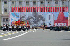 Squad drummers Nakhimov naval school on rehearsal of parade in honor of Victory Day. Saint Petersburg Royalty Free Stock Photography