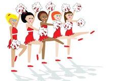 squad för 5 cheerleading flickor Fotografering för Bildbyråer