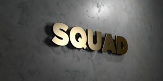 Squad - Gold sign mounted on glossy marble wall  - 3D rendered royalty free stock illustration. This image can be used for an online website banner ad or a Royalty Free Stock Photos