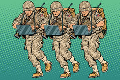 Squad modern cyber soldier. Vintage pop art retro comic book vector illustration. Military hackers royalty free illustration
