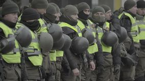 A squad of soldiers of the National Guard of Ukraine in the streets of Kyiv. Stock video footage UHD 4K / 3840-2160 / MP4 / Codec H.264 / 25 fps stock footage